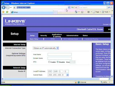Port Forwarding Using a Linksys