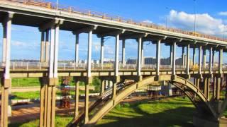 Вид из окна поезда - река Волга (Борский мост, Нижний Новгород)