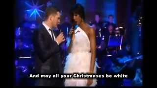 Michael Buble & Kelly Rowland   White Christmas   with Lyrics