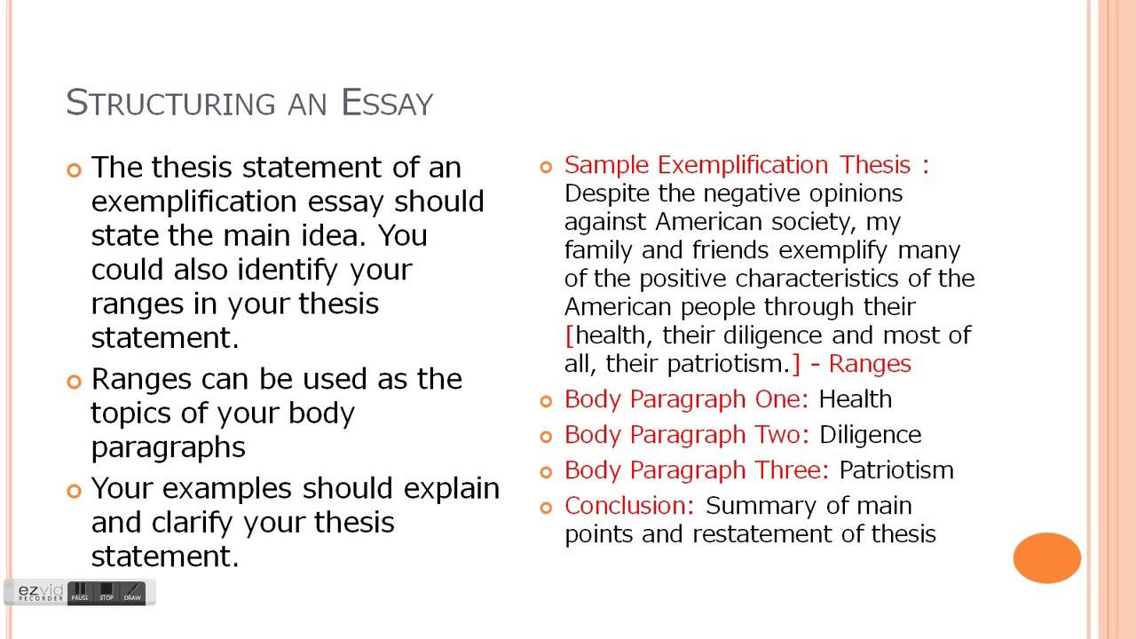 Exemplification essay ideas
