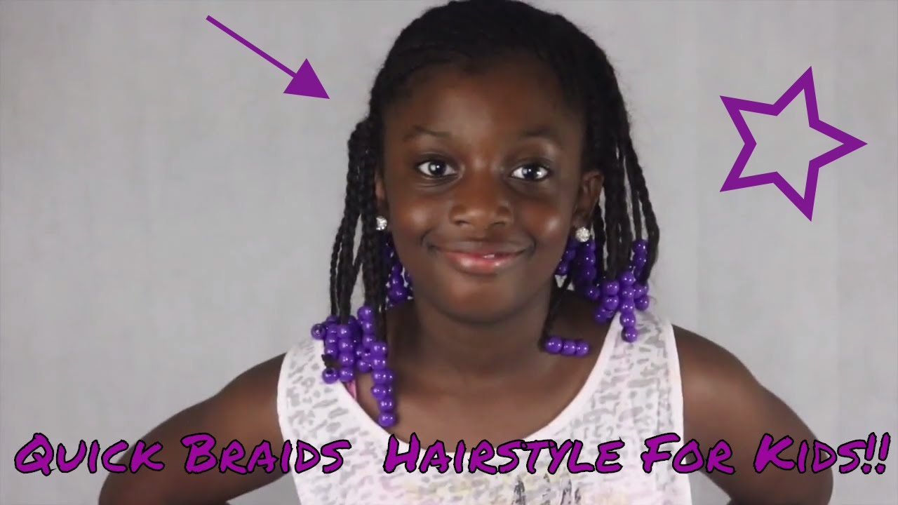 Quick Braids hairstyle on natural hair for kids!! - YouTube