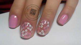 Цветочный дизайн для коротких ногтей | Flowers Nail Art Tutorial | KSEVA