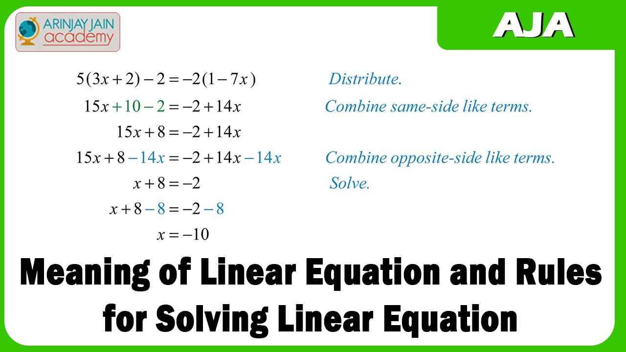 how to work linear equations