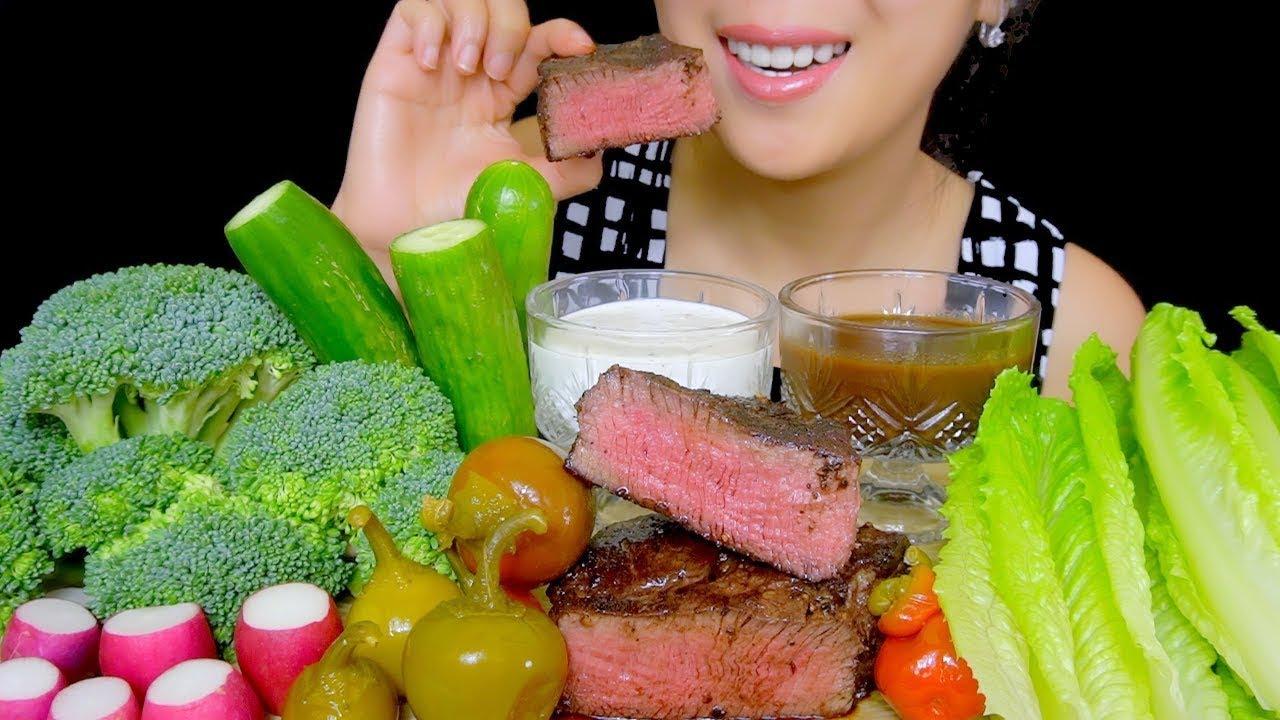 ASMR RAW VEGGIES PLATTER (Raw Broccoli, Radish, Lettuce ...