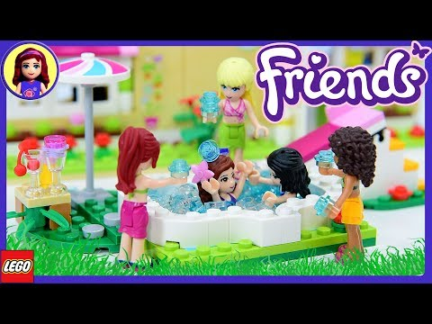 Water Fight! LEGO Friends Olivia's Garden Pool Build Review Silly Play Kids Toys