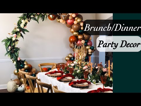 Decorate With Me | Rustic Fall themed Table Decor and Floral Balloon Garland Hoop | Thanksgiving