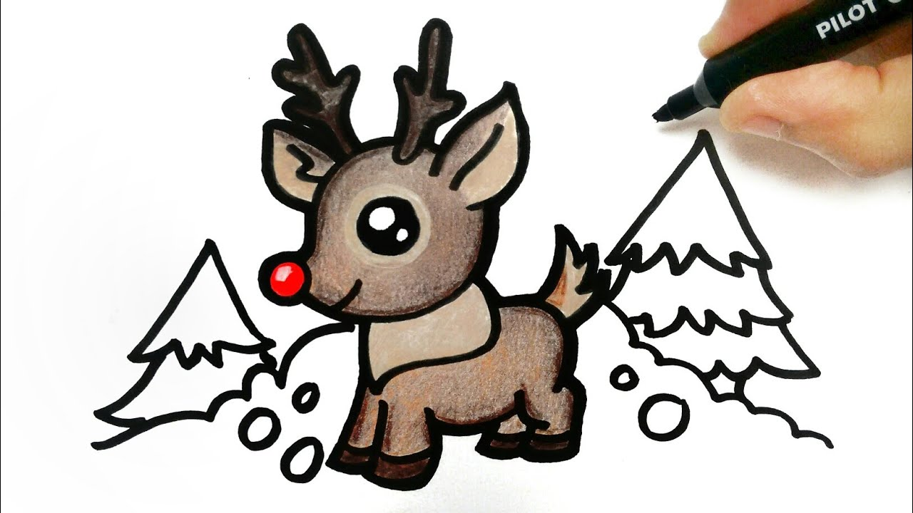 how to draw a christmas reindeer youtube how to draw a christmas reindeer