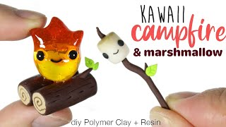 How to DIY Campfire + Marshmallow Polymer Clay/Resin Tutorial