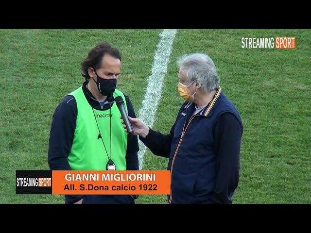 Il tecnico del San Donà  Migliorini al termine della gara  con lo Spinea Domenica 2 maggio 2021