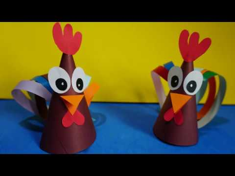 paper cone chicken  Craft for Kids | How to make a paper cone chicken ideas step by step