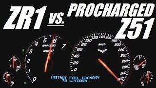 corvette zr1 vs corvette c6 z51 procharged 0 300 kph acceleration