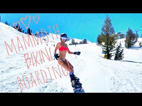 Mammoth Mountain Bikini Boarding And Aussie Snow Puppy!