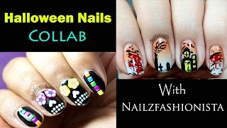 Halloween Nail Art (Sugar Skull Nails) || Collab With Nailzfashionista