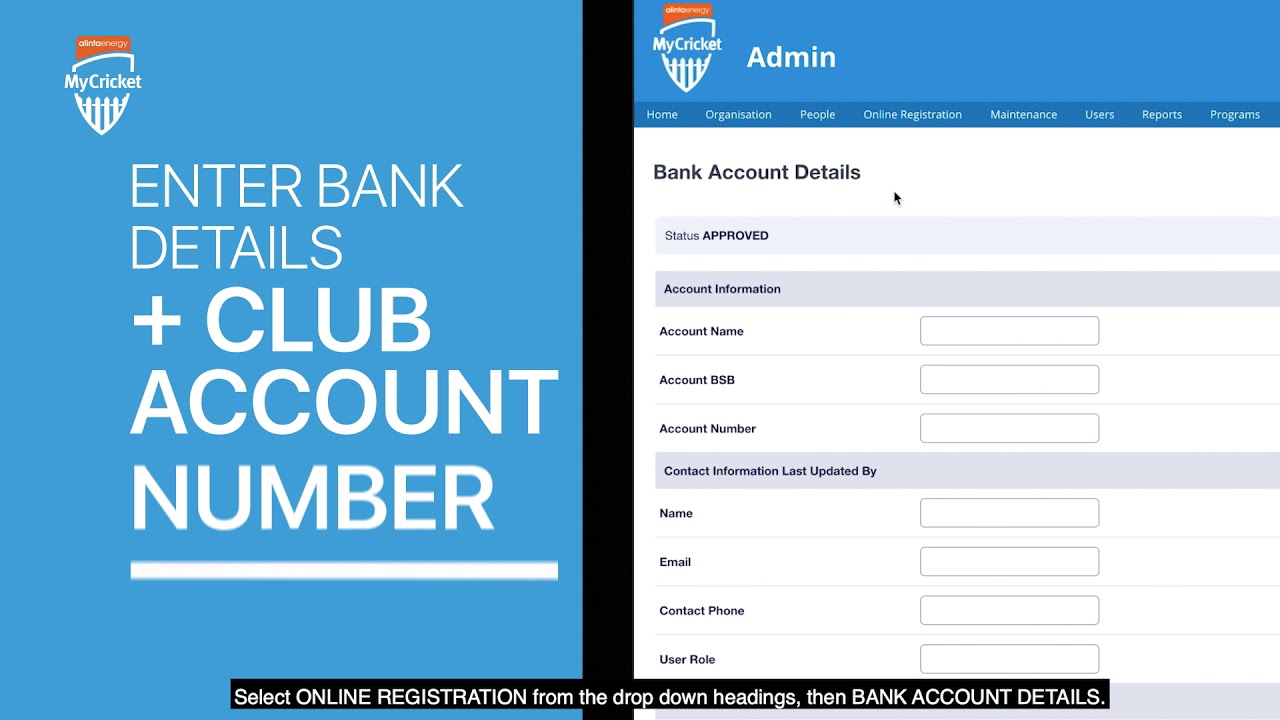 Online Registration: Setting up bank account details - YouTube