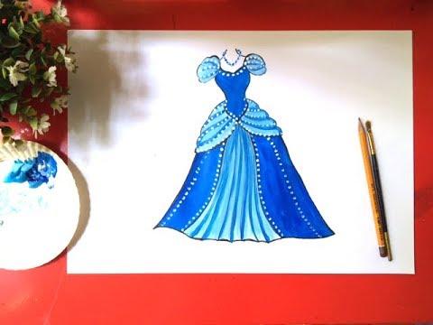 Cách vẽ váy đầm công chúa | Dạy bé học