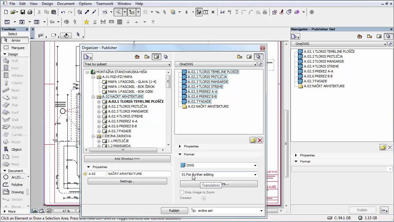 EXPORT-Publish to ONE dwg file - The Global ARCHICAD Community