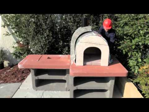Assembly Of Wood Fired Pizza Oven And Charcoal Bbq Combo