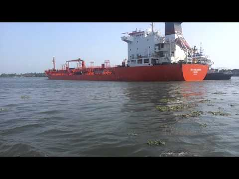 Ship arriving port of Kochi Harbour