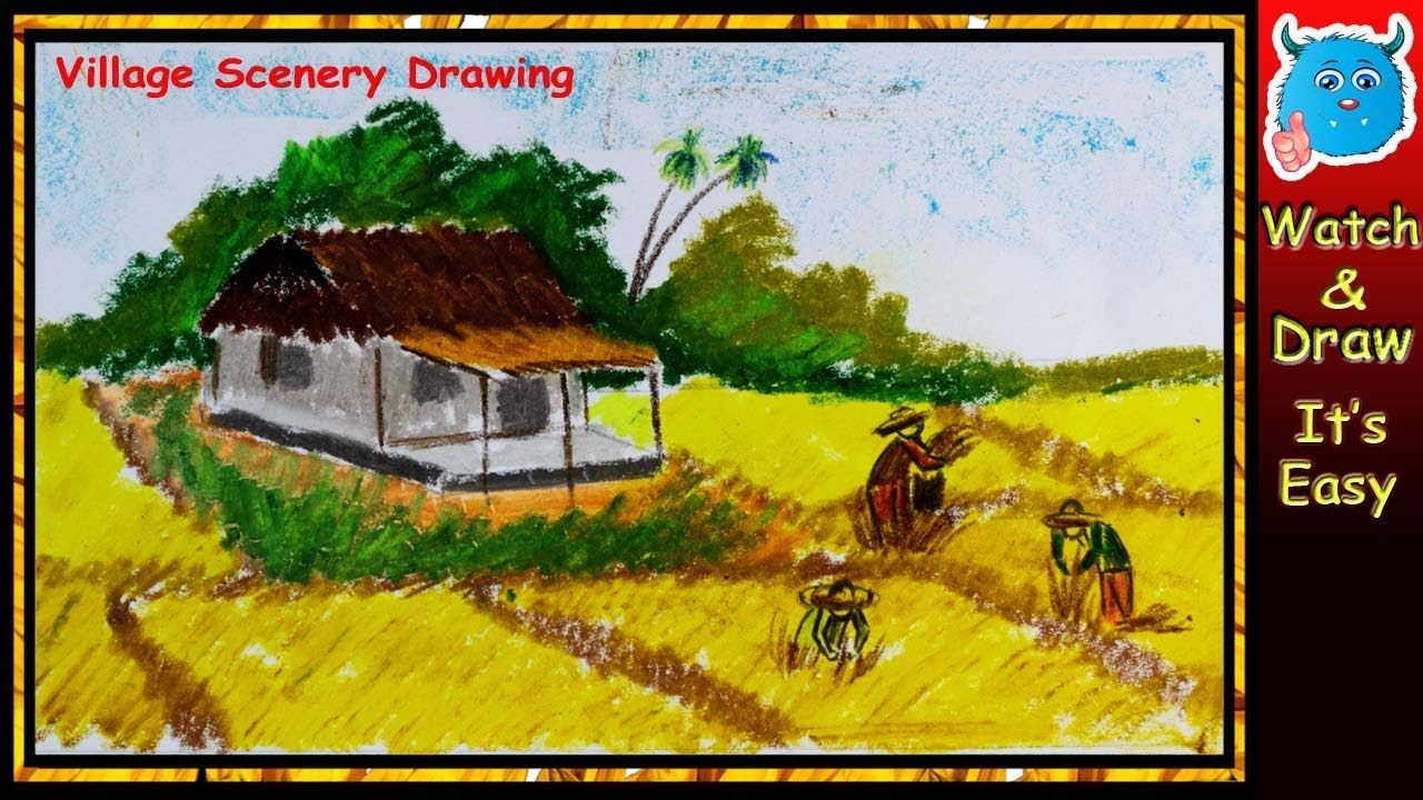 How to draw village landscape with farmers harvesting in the field easy drawing step by step