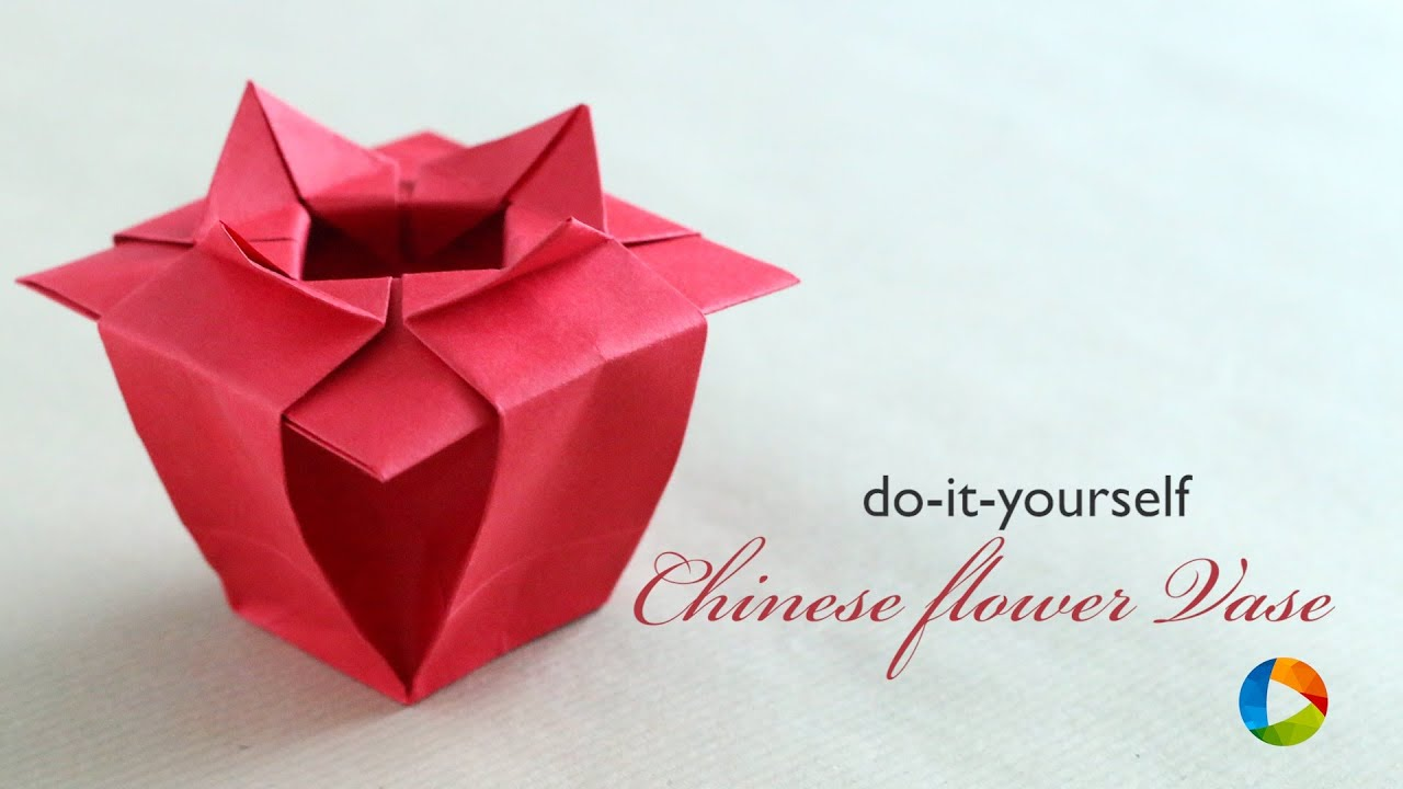 How To Make Origami Chinese Flower Vase Youtube