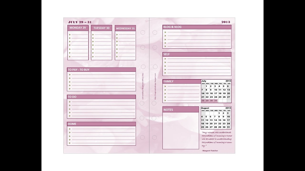 DIY Filofax Inserts - Week on Two Pages + free download - YouTube