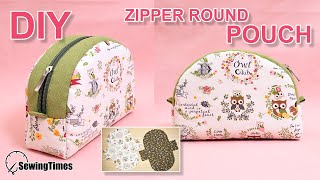 DIY ZIPPER ROUND POUCH BAG 반달 파우치 | Makeup Pouch Sewing Tutorial & Free Pattern [sewingtimes]
