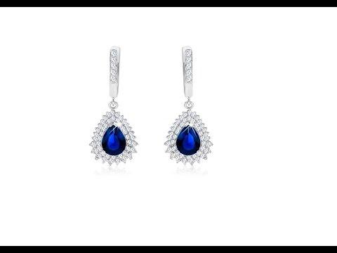 Jewellery - 925 silver earrings, dark blue tear-shaped zircon
