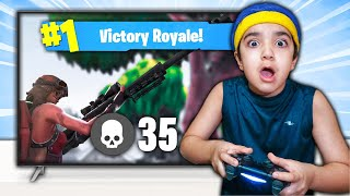 My Little Brother Plays Fortnite On Ninjas Account! (LITTLE KID TURNS INTO NINJA!)