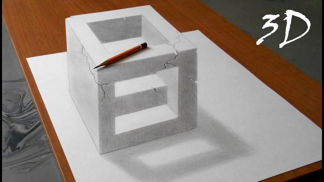 Как рисуют 3д рисунки простым карандашом