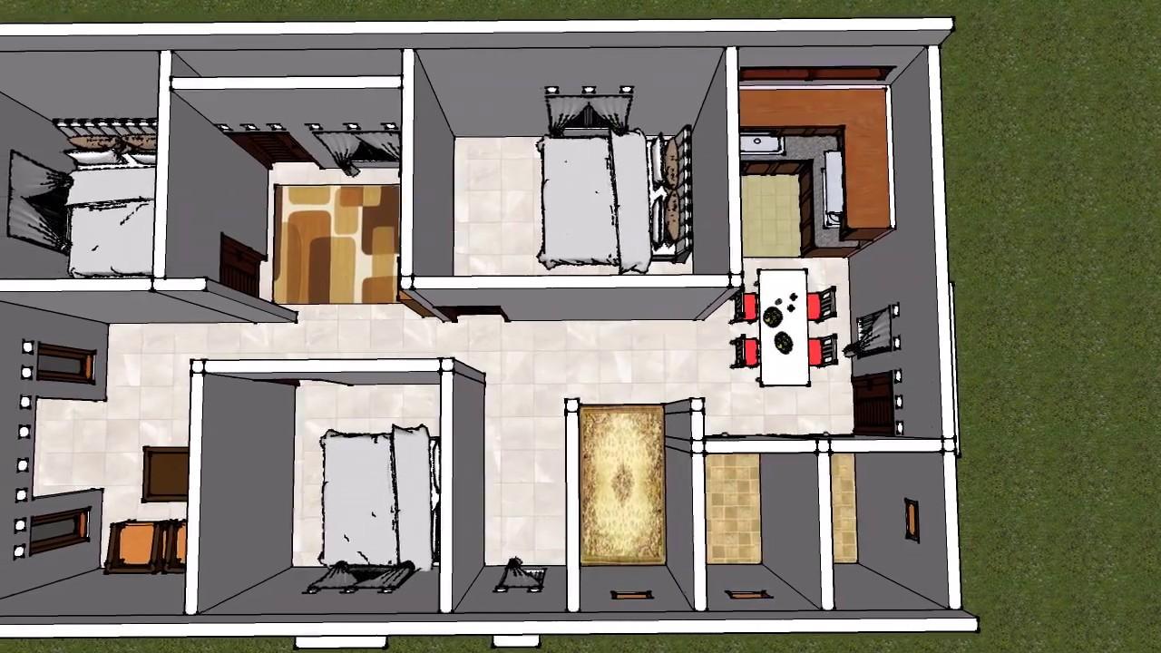 desain rumah 3 kamar tidur 1 mushola 3d