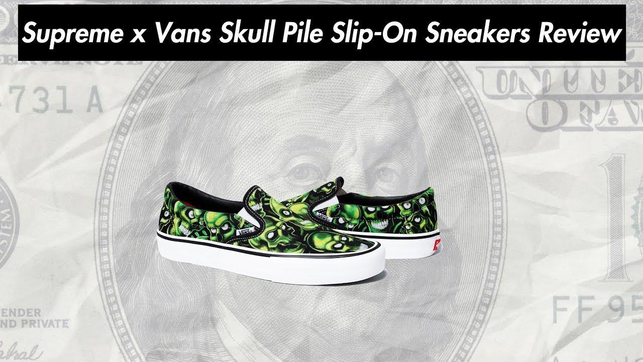 88a8f5e596 Supreme x Vans Skull Pile Slip-On Sneakers Review ( 01.03.2018 Week 2 Drop )