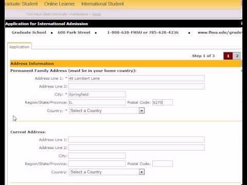 Fort Hays State University Graduate School International Online Application Tutorial