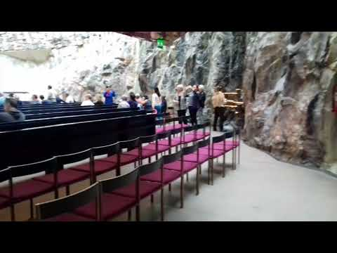Church with an organ in a cave in Helsinki.