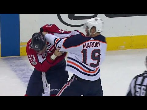 Oilers Maroon uses MMA style take down & eventually boxing in fight with Capitals Wilson
