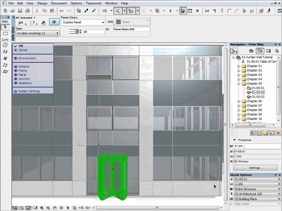 ArchiCAD 12 New Feature Tutorials - The Curtain Wall Tool 5 - YouTube