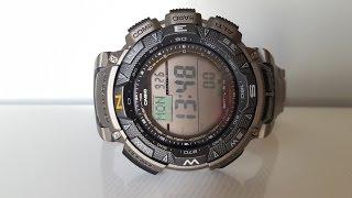 Титановые Casio ProTrek PRG-240T-7E, обзор и настройка. (Review and setting)