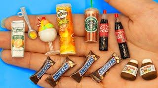 26 EASY DIY MINIATURE BARBIE IDEAS ~ Mini Starbuck , snicker , pringles and more!