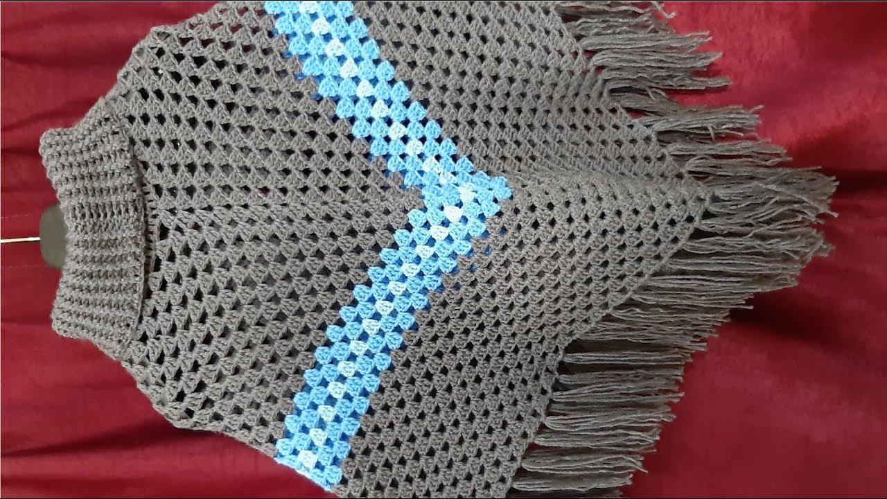 چۆنییەتی چنینی شاڵی ملیواندار How To Crochet Cowl Neck Poncho