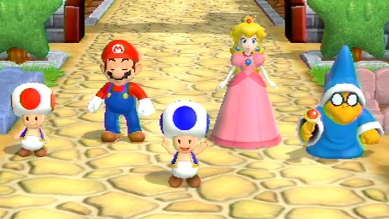 Mario Party 9 - Garden Battle - Toad vs Mario vs Peach vs Kamek