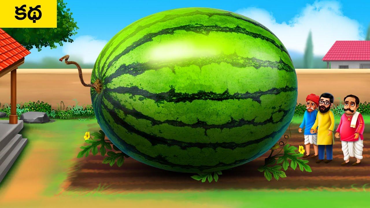 పెద్ద పుచ్చకాయ - Giant Watermelon   Telugu Moral Short Stories   Telugu Fairy Tales Village Stories