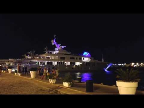 Ibiza harbour, party at a luxury yacht.