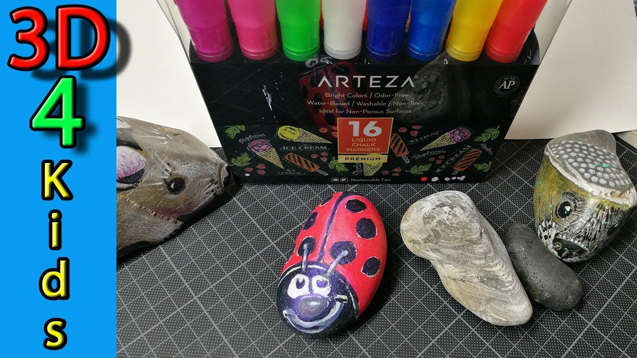 How to draw a Ladybug on Stone with Arteza Chalk Markers