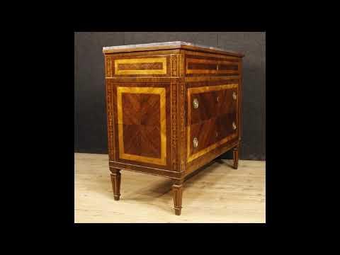 Comò italiano intarsiato con piano in marmo in stile Luigi XVI - YouTube