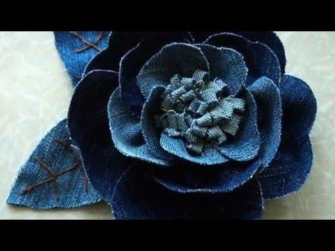 как сделать цветы из джинсовой ткани своими руками