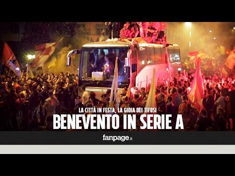 """Benevento-Carpi, i campani in serie A. La città in delirio: """"Lanciamo la sfida a Juve e Barcellona"""""""