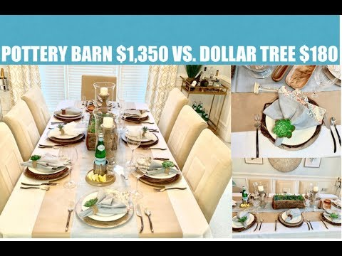 2019 Pottery Barn vs Dollar Tree Summer Tablescape Dupe