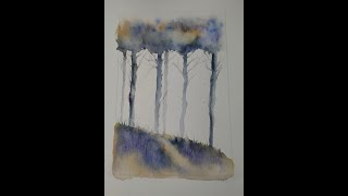 Watercolour loose style woodland