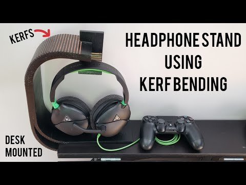 Desk-mounted Headphone Stand using Kerf Bending #RocklerBentWoodChallenge