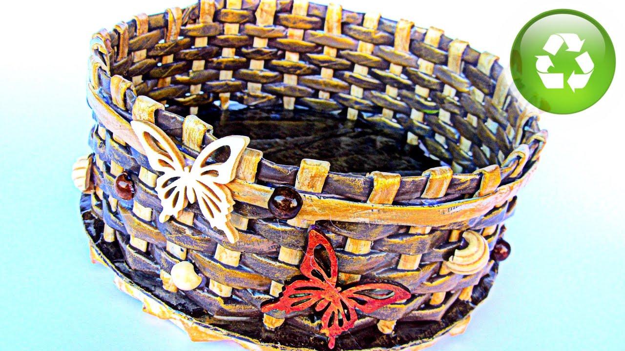 Diy cestas de papel peri dico newspaper baskets youtube - Cestas de papel de periodico ...