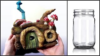 ❣DIY Fairy Garden Log House Jar❣